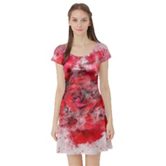 Flower Roses Heart Art Abstract Short Sleeve Skater Dress
