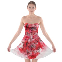 Flower Roses Heart Art Abstract Strapless Bra Top Dress