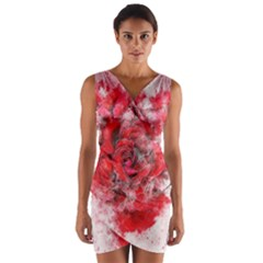 Flower Roses Heart Art Abstract Wrap Front Bodycon Dress