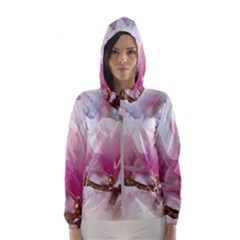 Flowers Magnolia Art Abstract Hooded Wind Breaker (women)