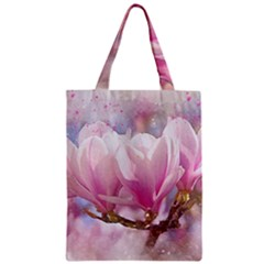 Flowers Magnolia Art Abstract Zipper Classic Tote Bag