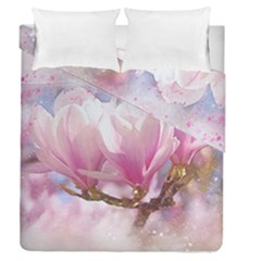 Flowers Magnolia Art Abstract Duvet Cover Double Side (queen Size)
