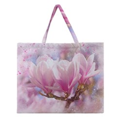Flowers Magnolia Art Abstract Zipper Large Tote Bag