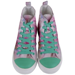 Flowers Magnolia Art Abstract Women s Mid Top Canvas Sneakers