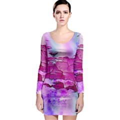 Background Crack Art Abstract Long Sleeve Bodycon Dress