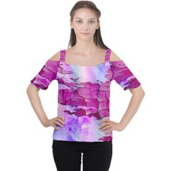 Background Crack Art Abstract Cutout Shoulder Tee