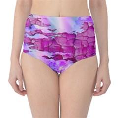 Background Crack Art Abstract High Waist Bikini Bottoms