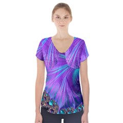 Abstract Fractal Fractal Structures Short Sleeve Front Detail Top