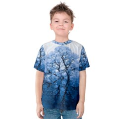 Nature Inspiration Trees Blue Kids  Cotton Tee