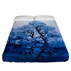 Nature Inspiration Trees Blue Fitted Sheet (california King Size)