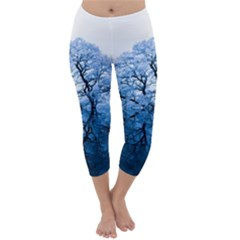 Nature Inspiration Trees Blue Capri Winter Leggings
