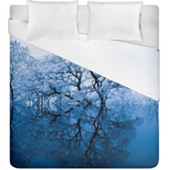 Nature Inspiration Trees Blue Duvet Cover Double Side (king Size)