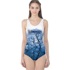 Nature Inspiration Trees Blue One Piece Swimsuit