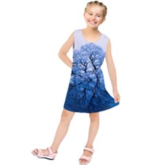Nature Inspiration Trees Blue Kids  Tunic Dress