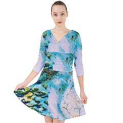 Abstract Art Modern Detail Macro Quarter Sleeve Front Wrap Dress