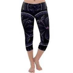 Fractal Abstract Purple Majesty Capri Yoga Leggings