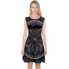 Fractal Abstract Purple Majesty Capsleeve Midi Dress