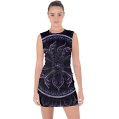 Fractal Abstract Purple Majesty Lace Up Front Bodycon Dress