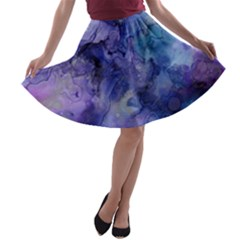 Ink Background Swirl Blue Purple A Line Skater Skirt
