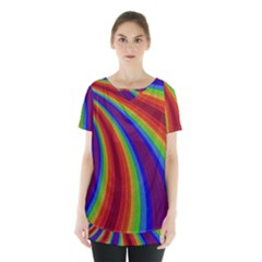 Abstract Pattern Lines Wave Skirt Hem Sports Top