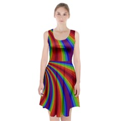 Abstract Pattern Lines Wave Racerback Midi Dress