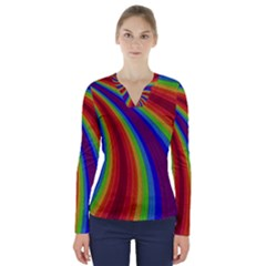 Abstract Pattern Lines Wave V Neck Long Sleeve Top