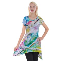 Art Abstract Abstract Art Short Sleeve Side Drop Tunic