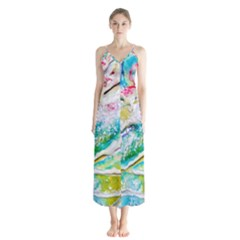 Art Abstract Abstract Art Button Up Chiffon Maxi Dress