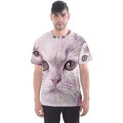 Cat Pet Cute Art Abstract Vintage Men s Sports Mesh Tee