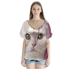 Cat Pet Cute Art Abstract Vintage V Neck Flutter Sleeve Top