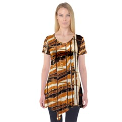 Abstract Architecture Background Short Sleeve Tunic