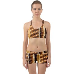 Abstract Architecture Background Back Web Sports Bra Set