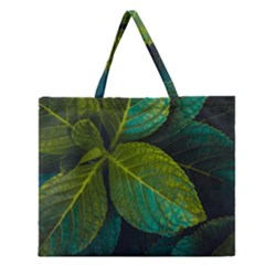Green Plant Leaf Foliage Nature Zipper Large Tote Bag
