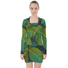 Green Plant Leaf Foliage Nature V Neck Bodycon Long Sleeve Dress