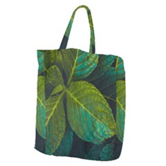 Green Plant Leaf Foliage Nature Giant Grocery Zipper Tote