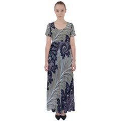 Pattern Decoration Retro High Waist Short Sleeve Maxi Dress