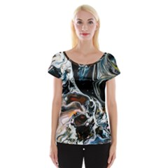 Abstract Flow River Black Cap Sleeve Tops