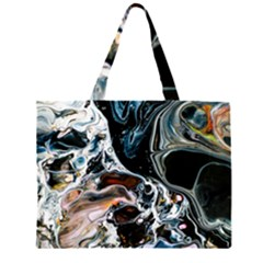 Abstract Flow River Black Zipper Large Tote Bag