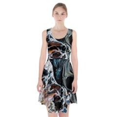Abstract Flow River Black Racerback Midi Dress