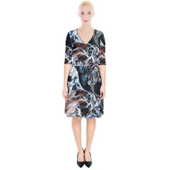 Abstract Flow River Black Wrap Up Cocktail Dress