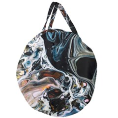 Abstract Flow River Black Giant Round Zipper Tote