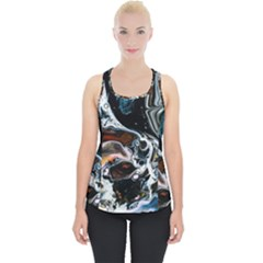 Abstract Flow River Black Piece Up Tank Top