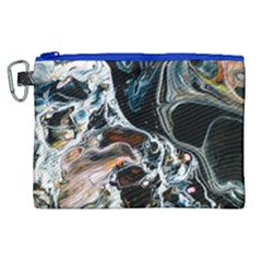 Abstract Flow River Black Canvas Cosmetic Bag (xl)
