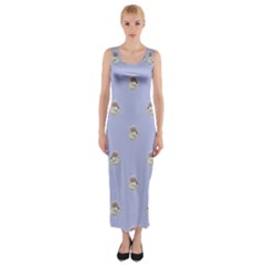 Monster Rats Hand Draw Illustration Pattern Fitted Maxi Dress