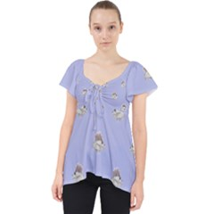 Monster Rats Hand Draw Illustration Pattern Lace Front Dolly Top