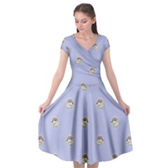 Monster Rats Hand Draw Illustration Pattern Cap Sleeve Wrap Front Dress
