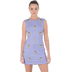 Monster Rats Hand Draw Illustration Pattern Lace Up Front Bodycon Dress