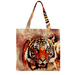 Tiger Portrait Art Abstract Grocery Tote Bag