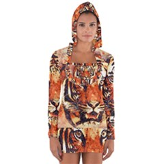 Tiger Portrait Art Abstract Long Sleeve Hooded T Shirt