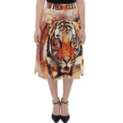 Tiger Portrait Art Abstract Folding Skater Skirt